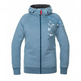 SchwerelosigKite Zip Hood Sweat Wind Vogel Greyblue Melange