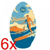 6x Skimboard SLIDZ 35  90cm Duke Blue Orange