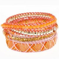 mint Mixed media wrap bracelet Peach